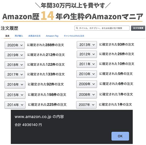 Amazon歴14年て?年間30万以上を費やすAmazonマニア